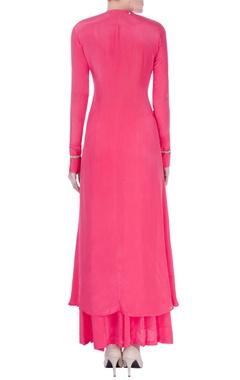 Pink wrap style kurta set
