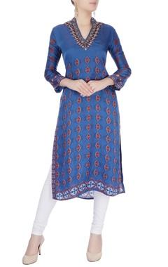 Blue printed & embroidered kurta
