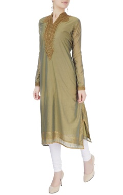 Olive green embroidered long kurta