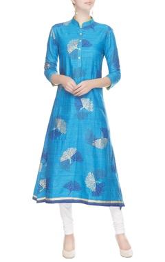 Blue straight block print kurta