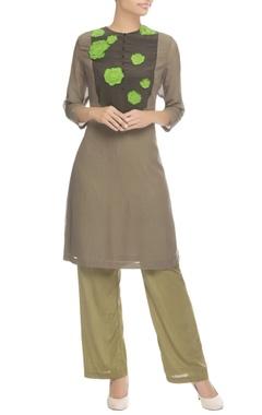 Khaki brown applique work kurta