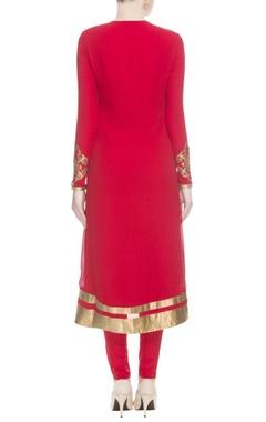 Cherry red gold embroidered kurta set