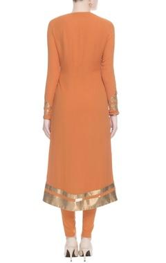 Burnt orange gold printed kurta set