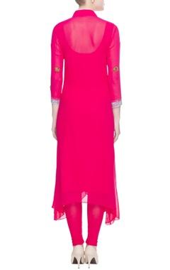 Hot pink elephant motif kurta & leggings