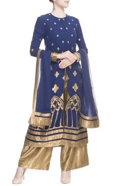 Navy blue & gold kurta set