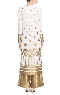 White gold printed kurta set