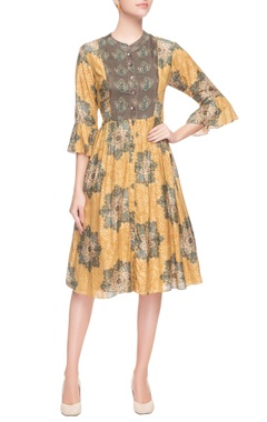 Brown & yellow ruffle sleeves dress
