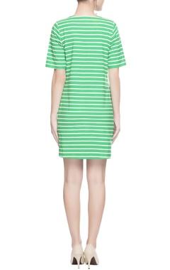 Green & white stripe dress