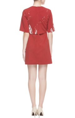 Red wrap effect mini dress