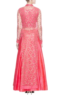 Rose pink gold sequin anarkali set