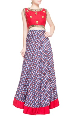 Red & blue sequin embellished anarkali
