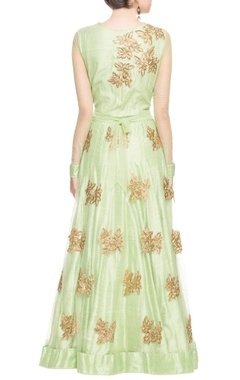 Light green gold embellished anarkali set