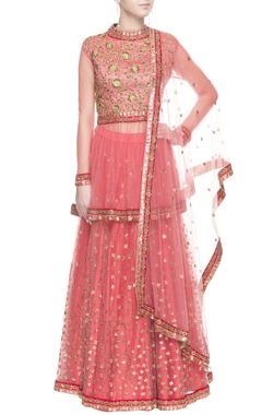 Rose pink gold sequin lehenga set