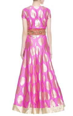 Rose pink gold brocade anarkali