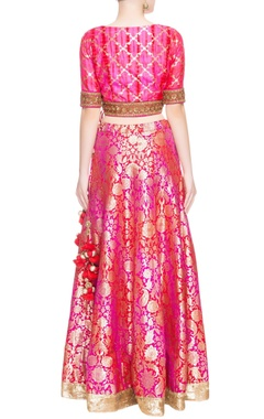 Pink & red sequin embellished lehenga