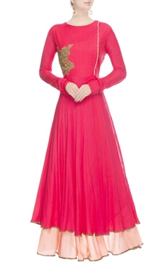 Hot pink anarkali with peach skirt