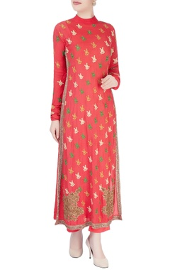 Coral pink embroidered kurta