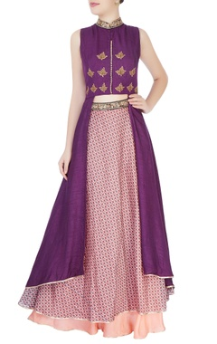 Purple kurta with multicolored lehenga