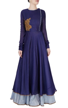 Navy blue double layer anarkali