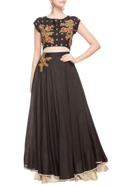 Black anarkali with gold embroidered detailing