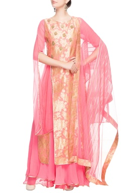 Pink anarkali with gold patterns