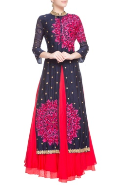 Blue & pink embroidered kurta