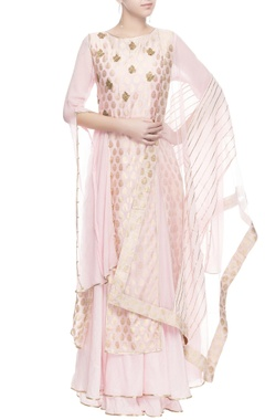 Light pink gold print anarkali