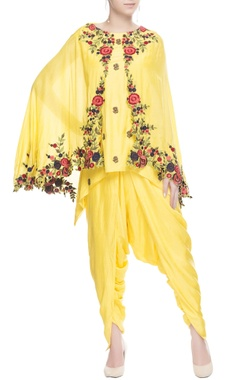 Yellow dhoti set in floral print