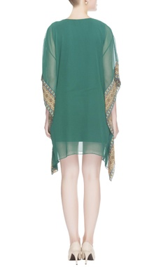 Green sequin embroidered kaftan