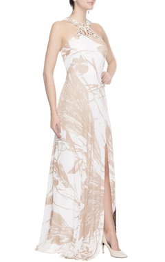 White & brown gown with prints