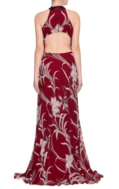 Maroon high slit gown