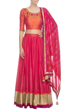 Pink & orange lehenga set