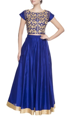 Blue & gold embellished skirt set