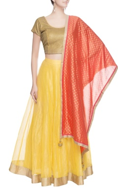 Beige & yellow sequin work lehenga