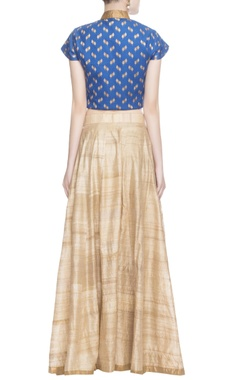 Blue printed crop top & skirt