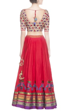 Red & blue floral embroidered lehenga