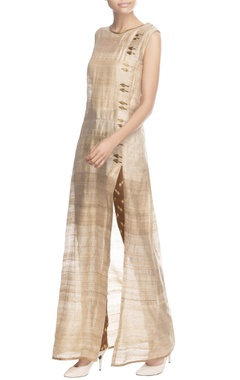 Beige long overlap tunic