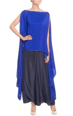 Blue flowy kaftan with dhoti pants