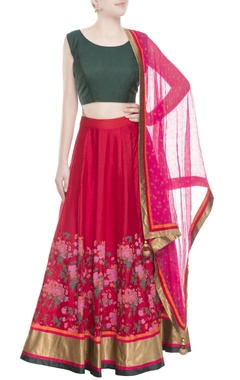 Green & red floral lehenga