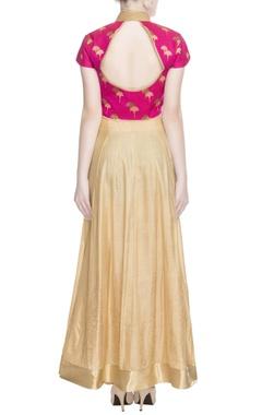 Pink & gold maxi dress