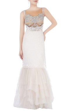 Off white embellished gown
