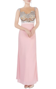 Powder pink open back gown