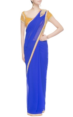 Yellow & blue bead work embroidered sari