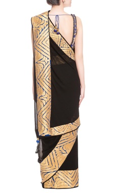 Black sari with floral embroidered blouse
