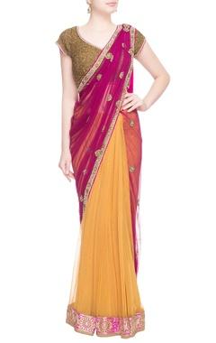 Purple & yellow beadwork embellished sari