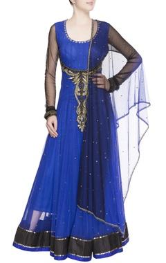 Royal blue embellished anarkali set
