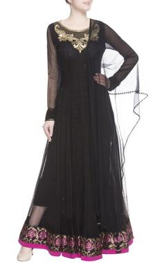 Black embellished anarkali with dupatta