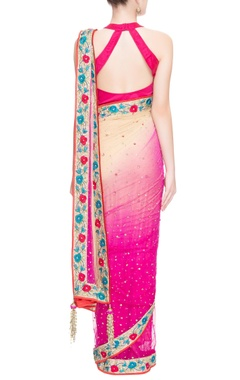 Pink & beige floral embroidered sari