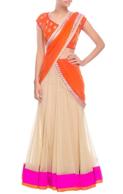 Orange & beige sari with silver embroidery