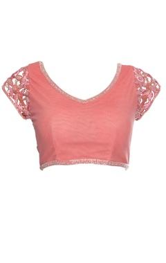 Peach blouse with cutwork